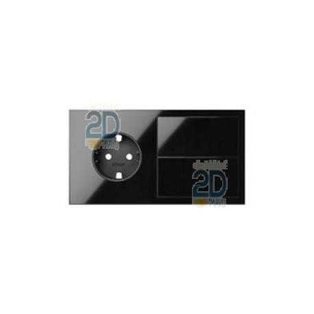 Kit Front 2 Elementos Base + Tecla Negro  10020203-138