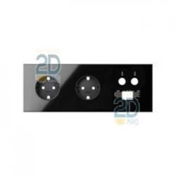 Kit Front 3 El. 2 Bases + Tv + Rj45 Negro  10020303-138