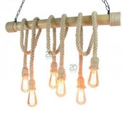 Lampara-colgante-bambu-y-lino-6-bombillas