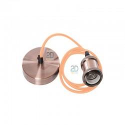 Casquillo-metal-y-floron-plano-color-cobre-cepillado-con-un-metro-de-cable