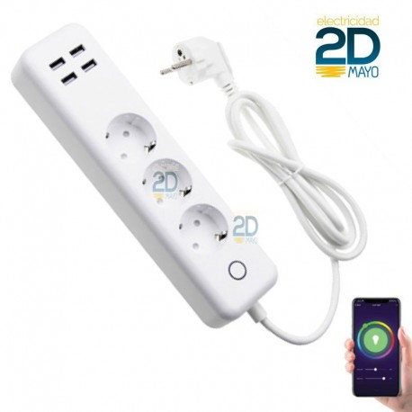 base-enchufe-multiple-conexion-wifi-t-schuko-monitor-color-blanco